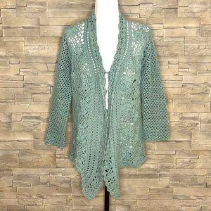 Pure Handknit moss green cardigan